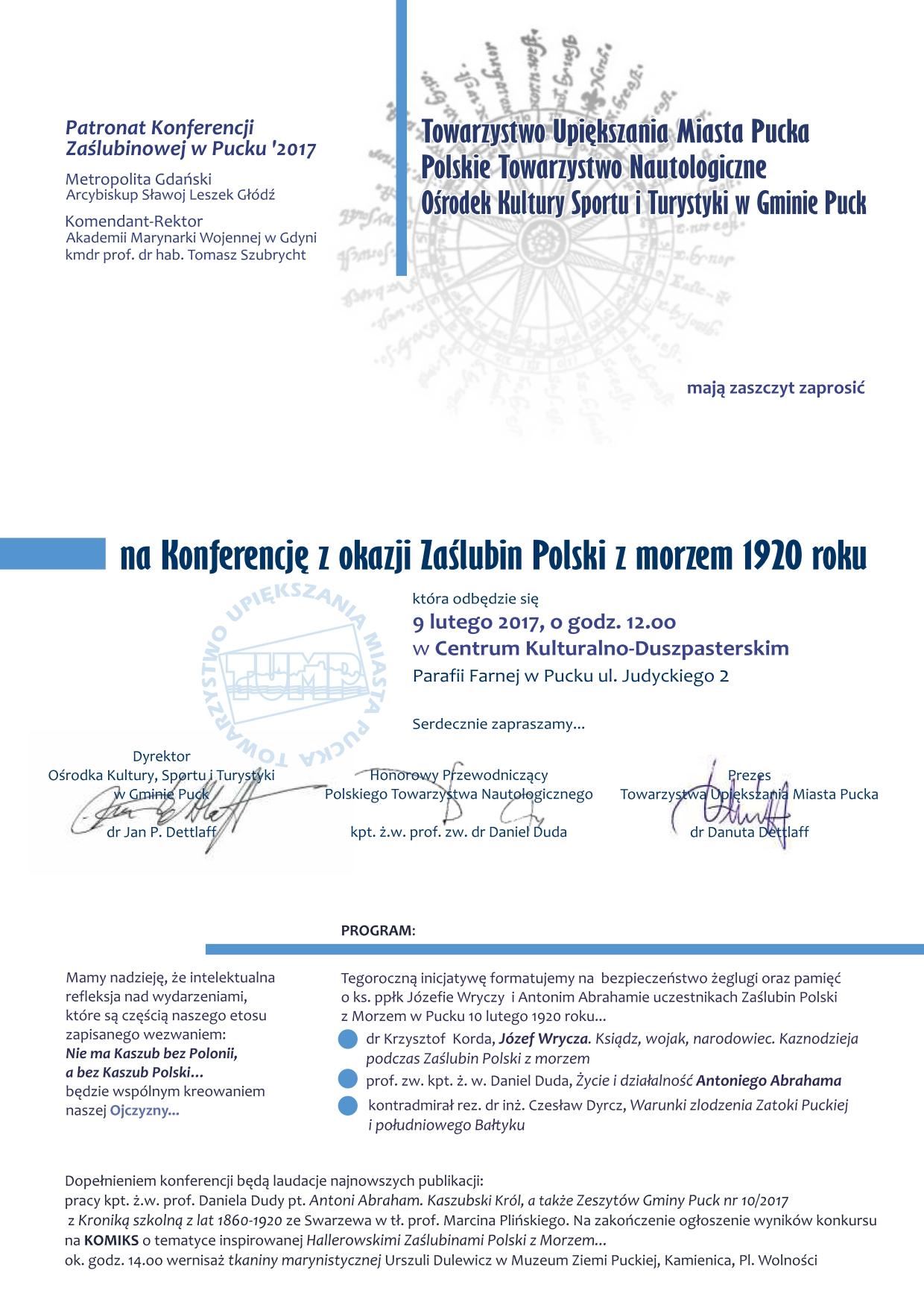 Zaproszenie Konferencja W Pucku Z Okazji 97 Rocznicy Zaślubin